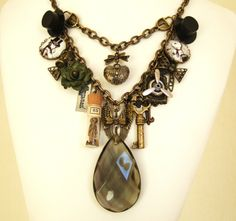Steampunk Choker | ... Steampunk Assemblage Charm Necklace Altered Art Necklace. #steampunk #