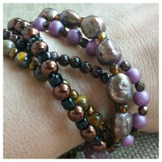 Check out this item in my Etsy shop https://www.etsy.com/listing/251574502/purple-and-brown-bracelet-tiger-eye