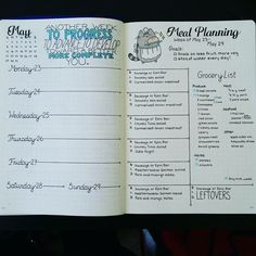 Diet planning spreads in the bullet journal / bujo