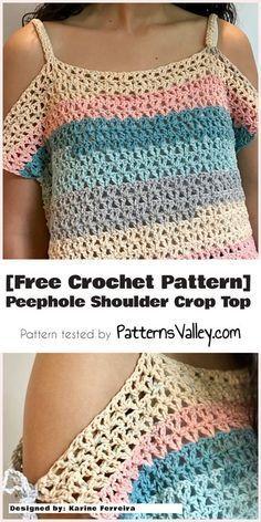 [Free Crochet Pattern] Peephole Shoulder Crop Top #freecrochetpattern #crochet #crochettop #summeroutfit #yarn #stitch