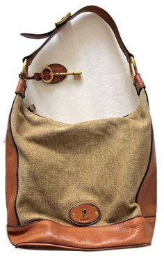 Fossil Brown Saddle Leather and Linen Keyhole Hobo Shoulder Bag Handbag Purse  Gently pre-owned. No rips, stains, or tears. Beautiful linen/straw/textile material accented by soft cow hide brown leather. Comes with large keychain. Adjustable bu...