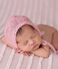 Baby Pink Cable-Knit Mohair Bonnet by The Tiny Blessings Boutique #zulily #zulilyfinds