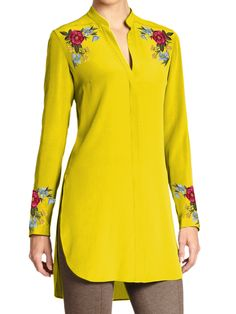 Ladies Tunic with Multicolor Floral Embroidery on Shoulders and Cuffs (Customizable)
