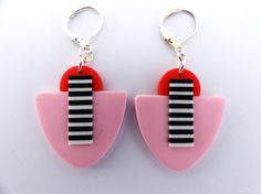 DECO Earrings Pink and Black & White stripes