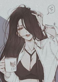 Dark Anime Girl, Manga Anime Girl, Anime Oc, Kawaii Anime Girl, Manga Art, Yuri Anime, Female Anime, Anime Girls, Cute Anime Character
