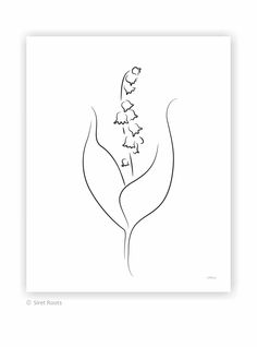Lily of the valley sketch. Single flower art print. Minimalist black and white ink drawing of spring wildflower. Wrist Tattoos, Flower Tattoos, My Flower, Flower Art, White Ink, Black And White, Simple Sketches, Lily Of The Valley Flowers, Spring Wildflowers
