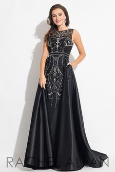 7699 - Fitted matte satin dress with beading and full skirt overlay