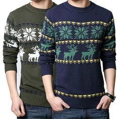 New Cotton Men's Sweater Slim O-neck Snowflake Deer Pattern Male Leisure Pullover Christmas Knitted Sweater Pull Homme Outwear