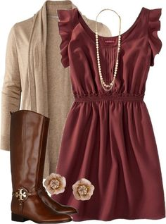 Like whole outfit for engagement photos. Simple and classic. and wonderful for engagement pictures or family fall photos, love the cardigan,dress, colors and accessories - what to wear for engagement photos Mode Outfits, Fashion Outfits, Womens Fashion, Fashion Ideas, Skirt Outfits, Fashion Trends, Fashion Styles, Fashion Clothes, Gym Outfits