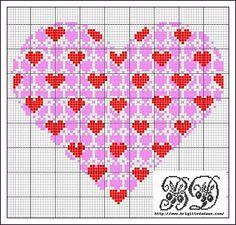 2 color cross-stitch heart
