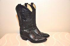 Vtg Larry Mahan Black Lizard skin Exotic Cowboy Boots Ladies Size 7 N Western #LarryMahan #CowboyWestern #SpecialOccasion