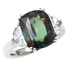 7 Carat Alexandrite Diamond Platinum Three Stone Ring | From a unique collection of vintage engagement rings at https://www.1stdibs.com/jewelry/rings/engagement-rings/