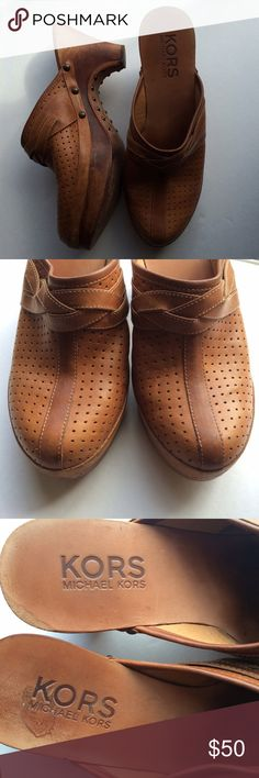 Michael Kors Leather Clogs Genuine leather. Size 9. Michael Kors. Slightly worn on the bottom otherwise excellent condition with a few marks here and there. Michael Kors Shoes Mules & Clogs