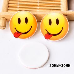 50pcs 30*30mm Japan Kawaii Emoji Flatback Resin Naughty Smile Face Planar Resin DIY Craft for Home Decoration Accessories DL-635