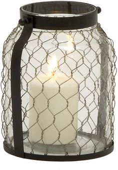 """Bayden Hill Glass Metal Candle Holder 7""""W, 9""""H"""