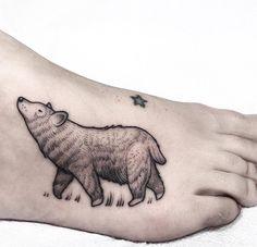 Blackwork Bear Tattoo on Foot by Lawrence Edwards