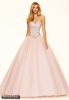 Prom Dress  Jeweled Beading on a Tulle Ball Gown Blush