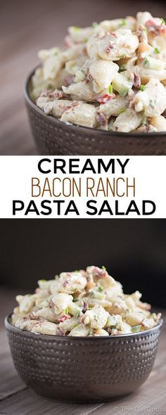 Creamy Bacon Ranch Pasta is a simple side dish recipe that pairs well with your favorite steak, chicken or seafood recipe!   This Gal Cooks