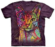 mountain tshirts mens and womens adult tee with a dean russo abyssinian cat design.