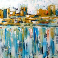 """new blog post:Cityscape, 20""""x20"""" Oil on canvas. Late night inspiration."""