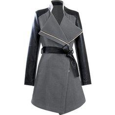 Grey PU Sleeve Coat