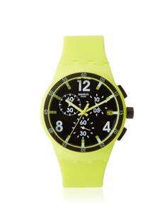 Swatch Men's SUSG400 Yellow/Black Silicone Watch Lightweight silicone band and plastic case in a vibrant hue, chronograph dial with luminous hands, date window; 2-year warranty Jewelry