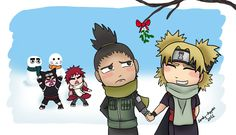 "Temari,"" Kiss me, kiss me, kiss me..."" Shikamaru,"" What a drag."" Gaara and Kankuro,""Do it and you'll DIE!"" I also believe Lee is in the one snowman"