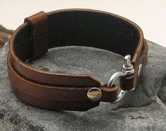 EXPRESS SHIPPING Men's leather bracelet . Brown by eliziatelye