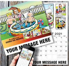 2021 Promotional Calendar - Dennis the MenaceComic Art Calendar and PlumTree Location Based Marketing Calendar printed with your Business, Organization or Event Name, Logo and Message Promotional Calendars, Dennis The Menace Comic, Date Squares, Wall Calendars, Calendar App, Us Holidays, Free Advertising, Business Organization, Your Message