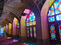 Nasir Al-Mulk Mosque, Shiraz, Iran. And you thought stained glass was limited to Christian churches (I know I did).