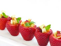Strawberry Fruit Cups ~ Fruit filled strawberry cups for your 4th of July, Labor Day picnics... Great alternative to a bowl full of fruit salad!