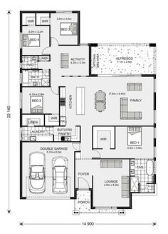 Tour Design, G. Gardner Homes - Custom Home Builders 4 Bedroom House Plans, New House Plans, Dream House Plans, Modern House Plans, House Floor Plans, Floor Plan 4 Bedroom, House Plans Australia, Home Design Floor Plans, House Blueprints