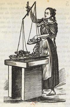 Xilografía alusiva en cabecera del segundo título de una mujer con una balanza con pescado.