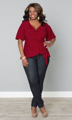 Plus size whimsical wrap top plus size outfits блузки, женск Curvy Outfits, Plus Size Outfits, Casual Outfits, Fashion Outfits, Fashion Ideas, Look Plus Size, Curvy Plus Size, Plus Size Fashion For Women, Plus Fashion