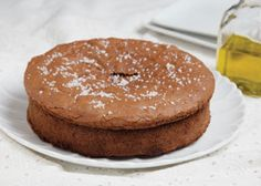 Chocolate almond torte made with extra virgin olive oil