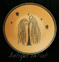 Willow tree and stars primitive wooden plate