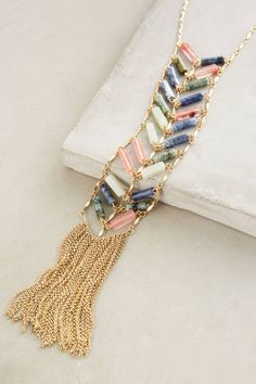 Chevron Fringe Lariat Necklace - anthropologie.com