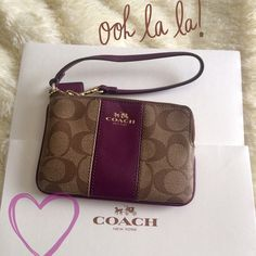 Price drop COACH Signature Brw/Maroon Wristlet COACH Signature print LEATHER Wristlet brown/maroon color. Zip closure. Lined Maroon  cloth with 2 pockets for credit cards. Gold accents. Perfect for those days or nights when you just need the essentials. Also great to take if you're taking your four legged friend for a walk & you might want to stop at the local coffee shop!! NWT NO TRADES Coach Bags Clutches & Wristlets