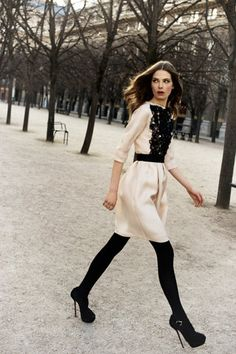Love the cream with the black tights  Christian Dior Pre-Fall 2012 Photo 1