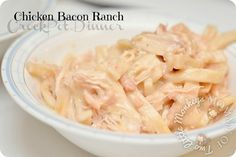 Quick & Easy Chicken Bacon Ranch in the CrockPot - this sounds like a fat-fest but looks delicious for a cold weather dinner!