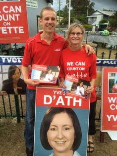Sasha and Tom help out Yvette D'Ath in Redcliffe.