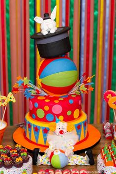 Stars, Polka Dot & Beach Ball Circus Cake with Bunny in Top Hat Topper