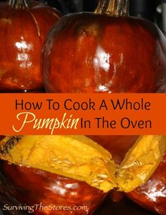 How to cool a whole pumpkin in the oven!  This is so easy and perfect for making pumpkin pies!