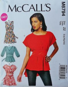M6794 | Misses' Tops and Tunics | New Sewing Patterns | McCall's Patterns #sewing