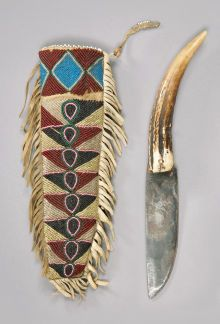American Indian Art:Beadwork and Quillwork, A CREE BEADED HIDE KNIFE SHEATH AND KNIFE. c. 1875...