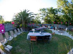 Masquerade party backyard decor