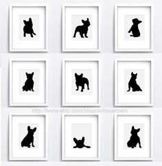 French bulldog Set of 9 dog silhouettes Custom by ColorWatercolor