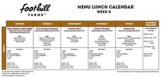 Week 4 Menu Lunch Calendar by Foothill Farms