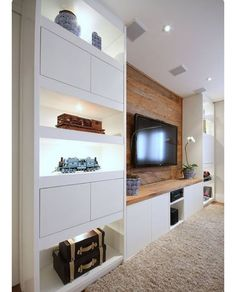 Trendy home theater planejado sala suspenso 49 ideas Living Room Tv, Home And Living, Small Living, Modern Living, Tv Wall Ideas Living Room, Wall Cabinets Living Room, Modern Tv, Tv Wanddekor, Tv Wall Decor
