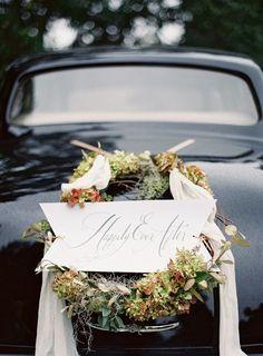 Elegant wedding getaway car wreath wedding getaway car wreaths elegant wedding getaway car wreath junglespirit Choice Image